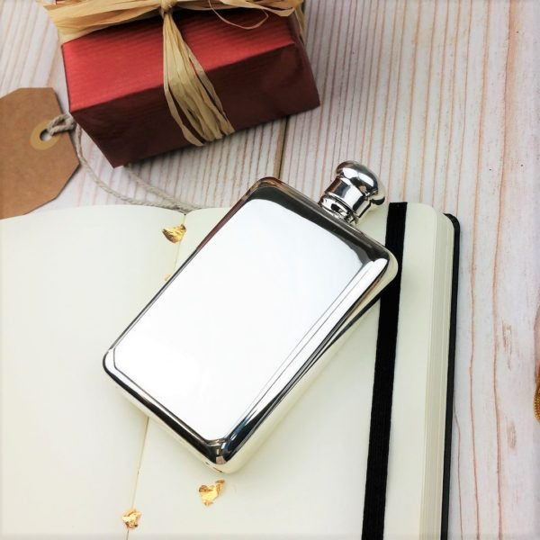 Personalized Sterling Silver Rectangular Hip Flask