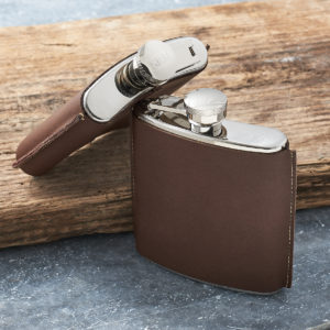 Personalized Hand Stitched Leather Hip Flask