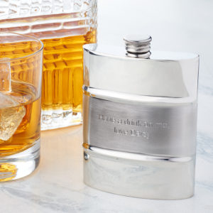 Personalized Satin Stripe Hip Flask