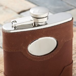 Personalized Spanish Leather Hip Flask