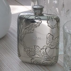 Personalized Bride's Leaf Hip Flask