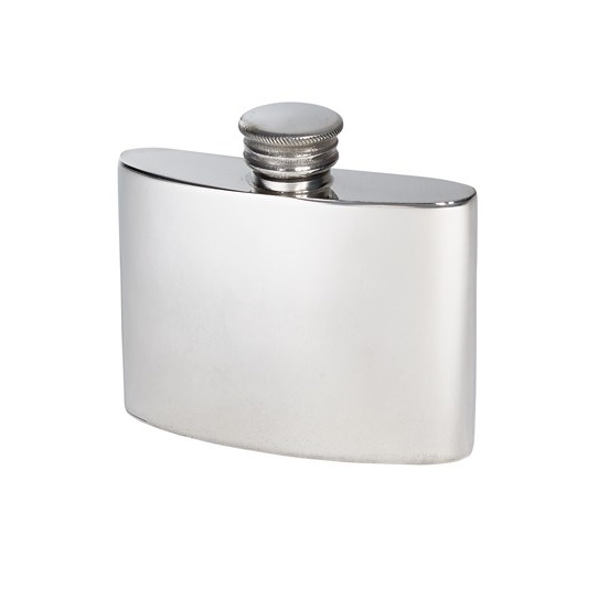 Personalized 2 oz Plain Pewter Kidney Hip Flask