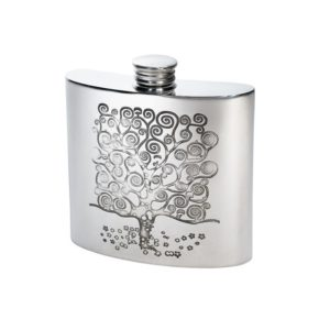 Personalized 4 oz Tree of Life Tree Pewter Kidney Flask