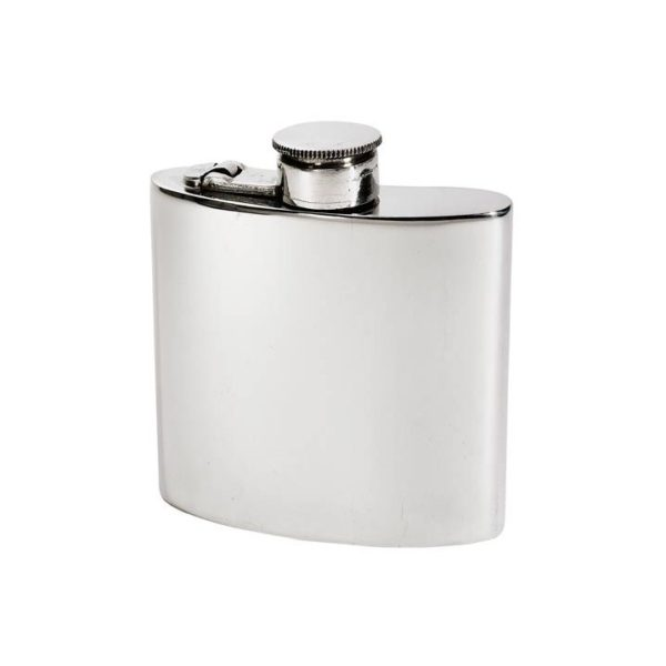 Personalized 4 oz Plain Pewter Kidney Hip Flask with Captive Top