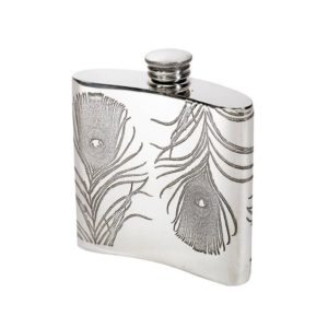 Personalized 4 oz Peacock Pewter Kidney Hip Flask