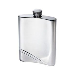 Personalized 6 oz Diagonal Stripe Pewter Kidney Hip Flask