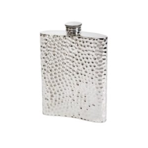 Personalized 6 oz Hammered Pewter Kidney Hip Flask