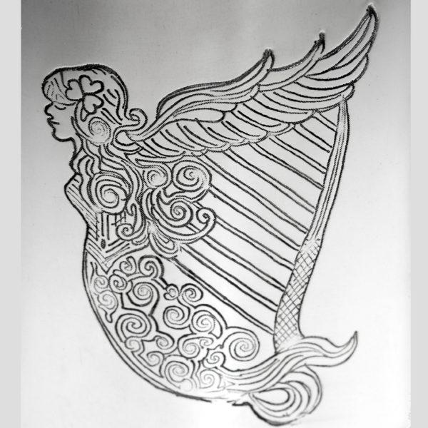 Personalized 6 oz Irish Harp Pewter Kidney Hip Flask