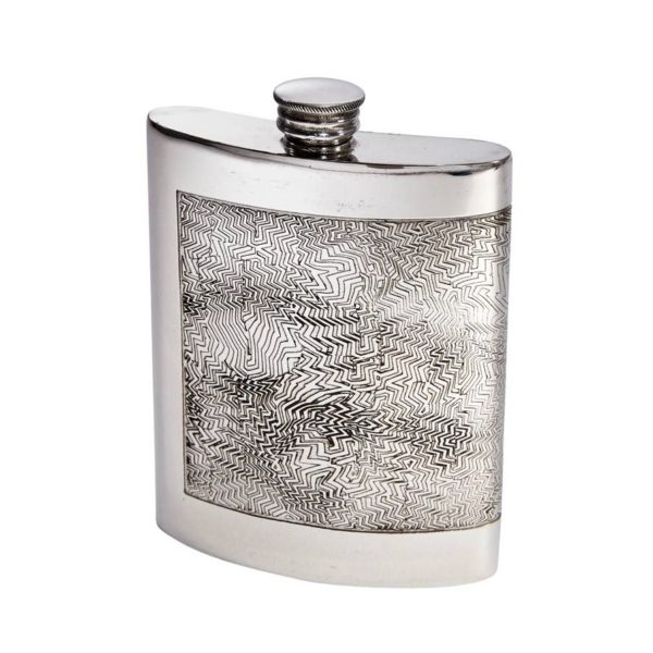 Personalized 6 oz Red Room Pewter Kidney Flask