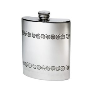 Personalized 6 oz Shamrock Pewter Kidney Hip Flask
