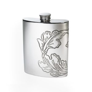 Personalized 6 oz Acanthus Pattern Pewter Kidney Hip Flask