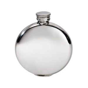 Personalized 4 oz Round Plain Pewter Hip Flask