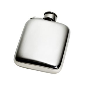 Personalized 4 oz Plain Pewter Pocket Hip Flask with Captive Top