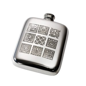 Personalized 4 oz Medieval Pewter Kidney Hip Flask