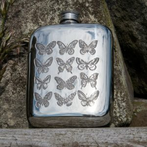 Personalized 4 oz Butterfly Pewter Pocket Hip Flask