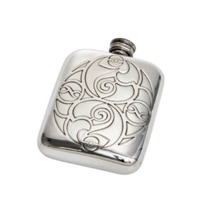 Personalized Celtic Spirals 4 oz Pewter Pocket Hip Flask