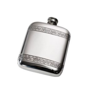 Personalized 4 oz Celtic Bands Pewter Pocket Flask