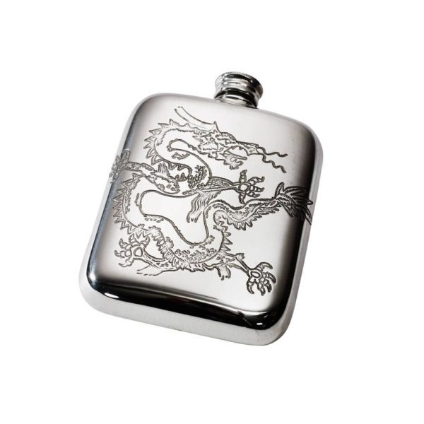Personalized 4 oz Chinese Dragon Pewter Pocket Hip Flask