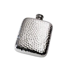 Personalized 4 oz Hammered Pewter Pocket Hip Flask