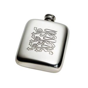Personalized Three Lions 4 oz Pewter Kidney Hip Flask