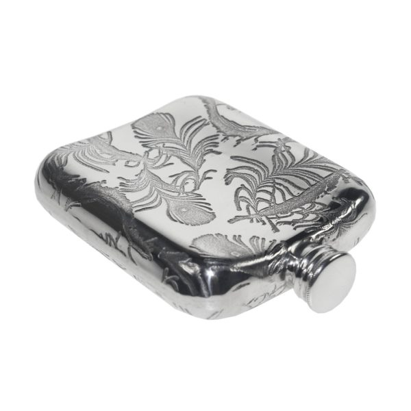 Personalized Peacock Pattern 4 oz Pewter Pocket Hip Flask