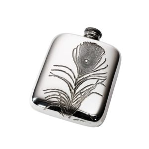 Personalized Peacock Feather 4 oz Pewter Pocket Hip Flask