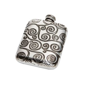 Personalized 4 oz Tree of Life Pewter Pocket Flask