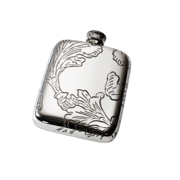 Personalized 4 oz Acanthus Pattern Pewter Pocket Hip Flask