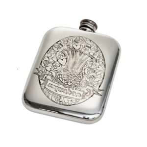 Personalized 6 oz Usquabae Thistle Skull and Hearts Pewter Hip Flask