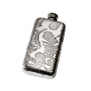 Personalized 3 oz Peacock Pewter Pocket Hip Flask
