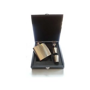 6oz Engraved Hip Flask Wooden Boxed Set with Free Engraving