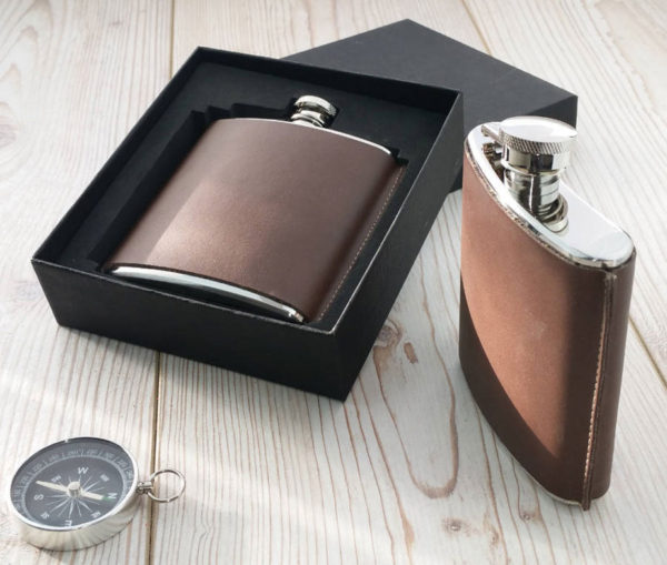 Leather Hip Flask - Standing Seam Personalized Flask 2
