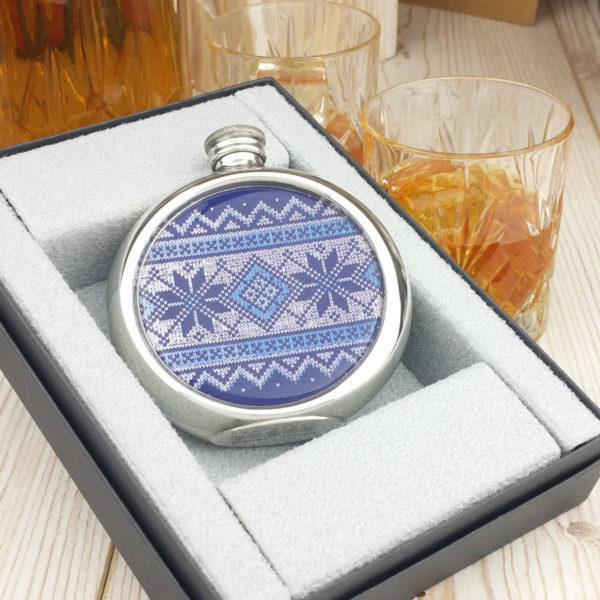 Personalized Fair Isle Christmas Hip Flask with Presentation Box