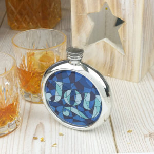 Personalized Stained Glass Joy Picture Hip Flask with Presentation Box