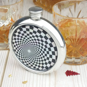 Shimmering Geometric Personalized Hip Flask with Presentation Box and Free Engraving