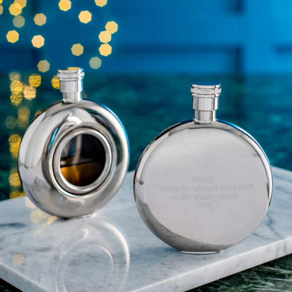 Round Window Hip Flask with Presentation Box, FREE ENGRAVING & Personalisation. Personalized Hip Flask.