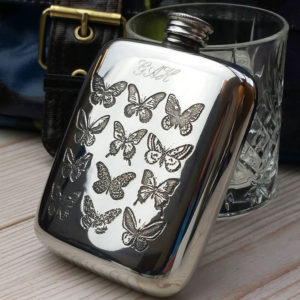 Personalized Ladies Butterfly Cushion Hip Flask