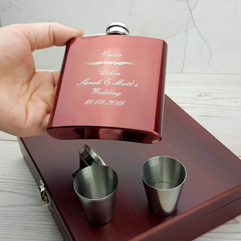 Striking personalized hip flask with gorgeous presentation box, funnel and nip cups - WIA1026