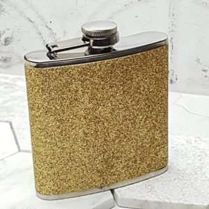 Gold Flashy Hip Flask With Personalized Lid
